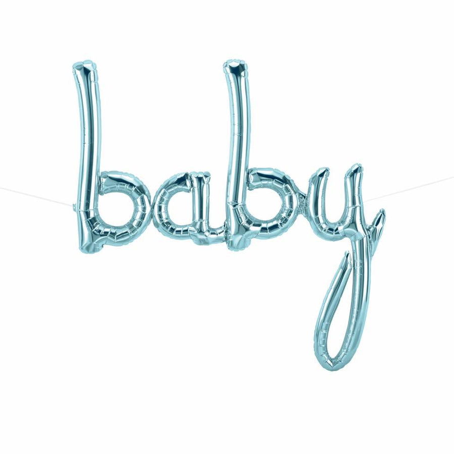 Blue 'BABY' Script Balloon - Bickiboo Designs