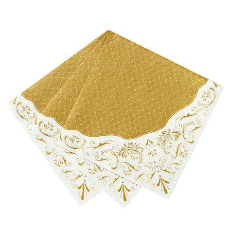 Party Porcelain Gold Napkin - Pack of 20 - Bickiboo Party Supplies