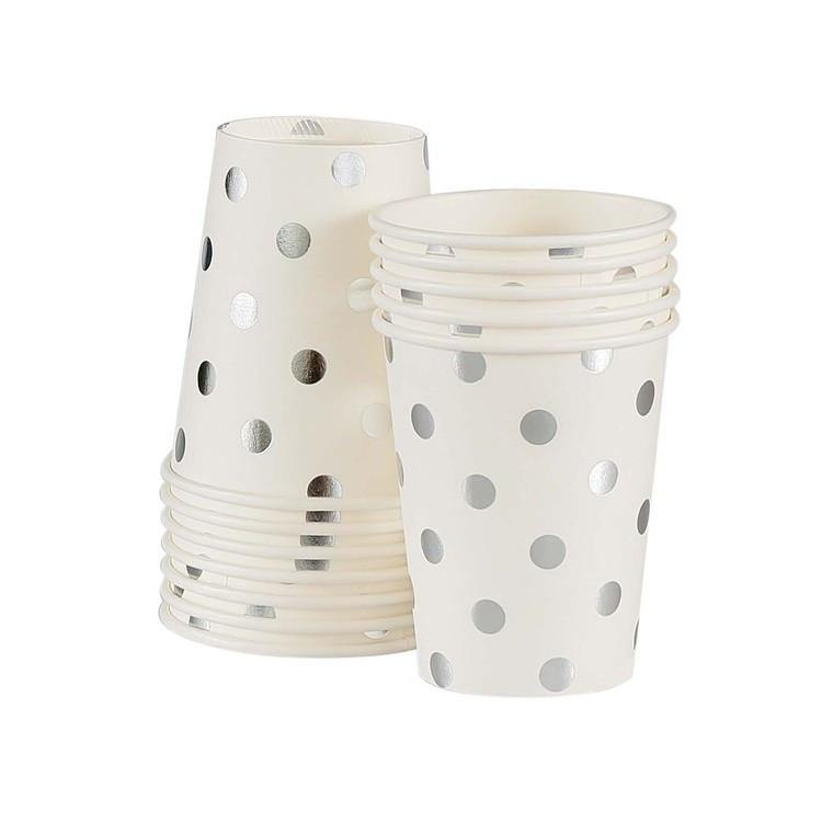 Sambellina White with Silver Foil Polkadot Cups