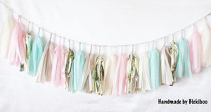 Tissue Paper Tassel Garland - Mint Loves Pink - Bickiboo Designs