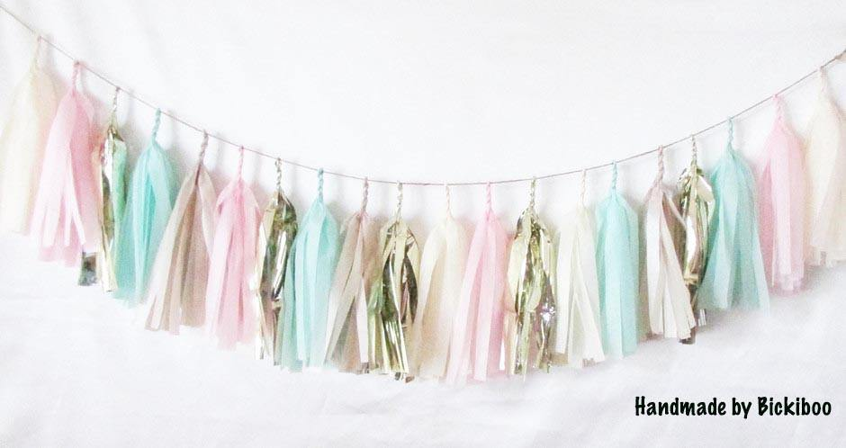 Tissue Paper Tassel Garland - Mint Loves Pink