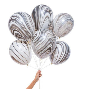 Black & White Marble 28cm Balloons  (5pack) - Bickiboo Designs