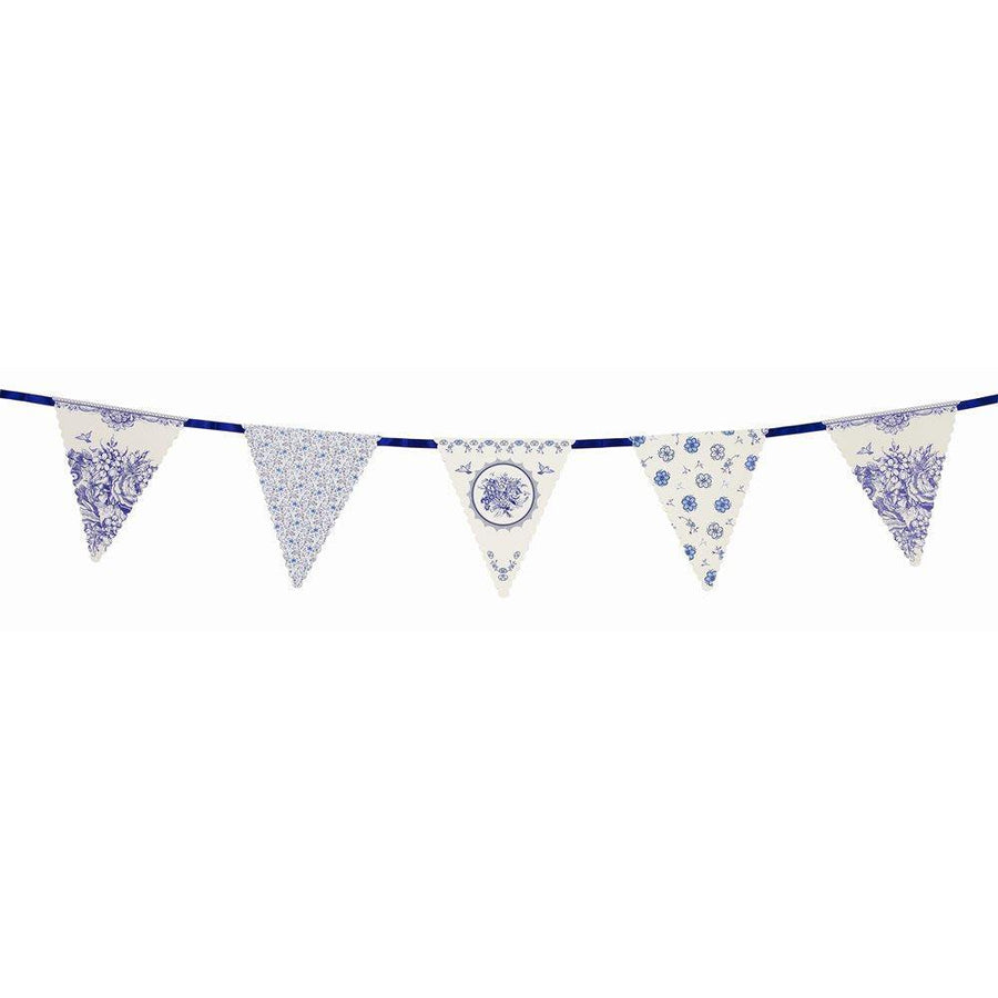 Party Porcelain Blue Paper Bunting - Bickiboo Party Supplies