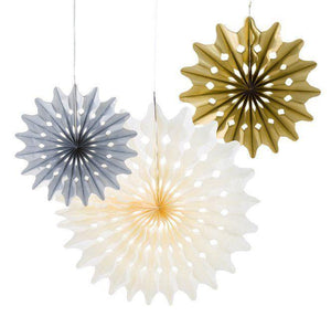 Honeycomb Metallic Fans (3 pack) - Bickiboo Designs