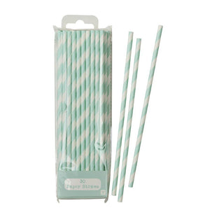 Mix & Match Straw Mint 30pk - Bickiboo Party Supplies