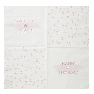 We Heart Pink & Gold Napkins - 16pack