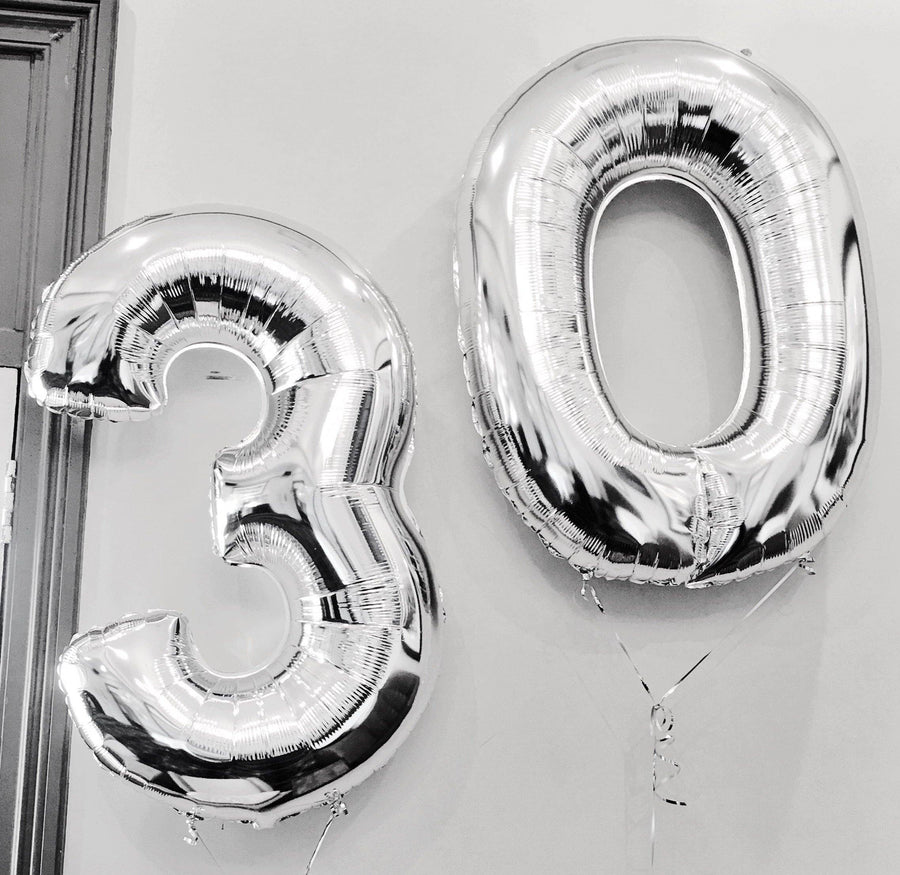 Silver 100cm Helium Filled Foil Balloons - Bickiboo Designs
