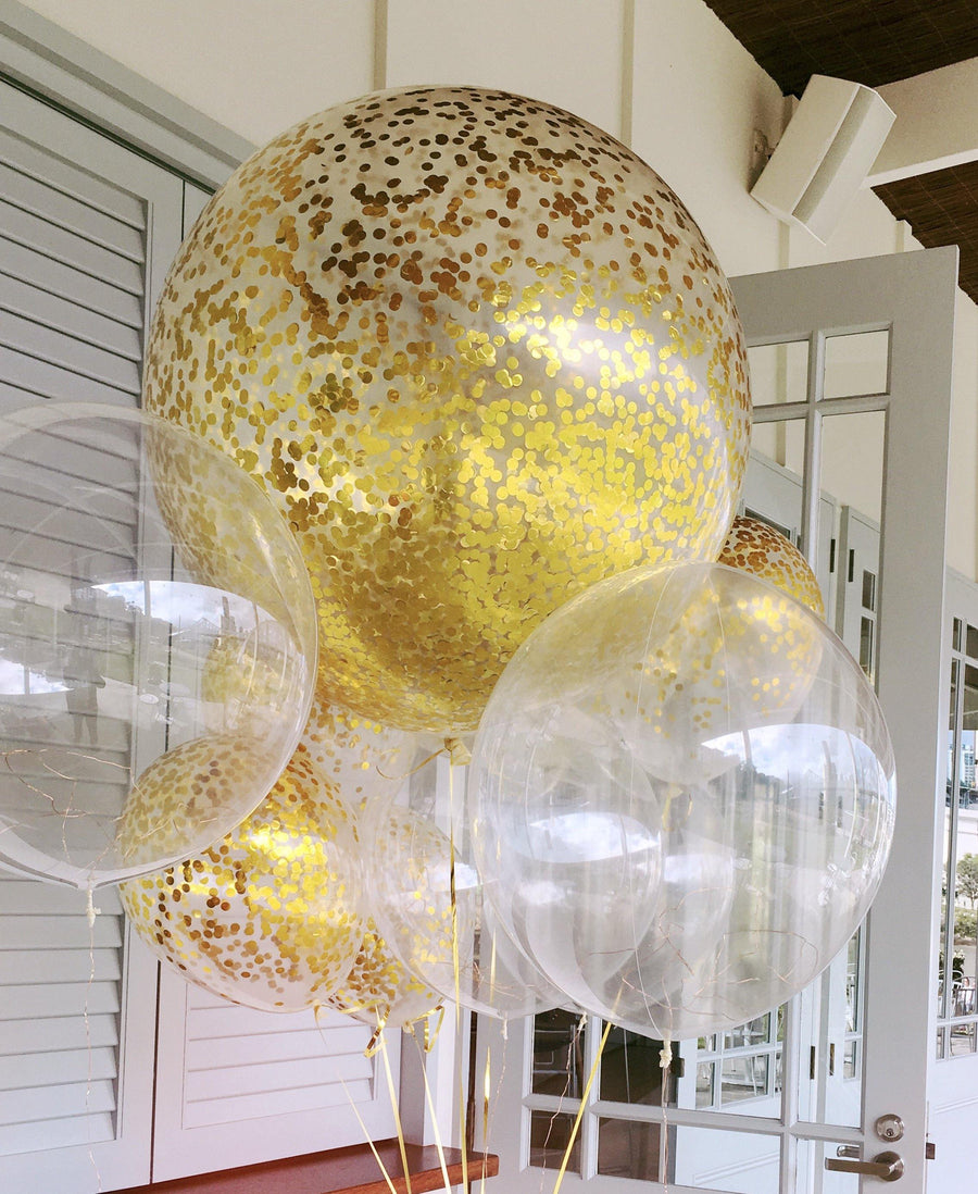 Jumbo Helium Filled  Confetti Balloon with small metallic gold confetti - Bickiboo Designs