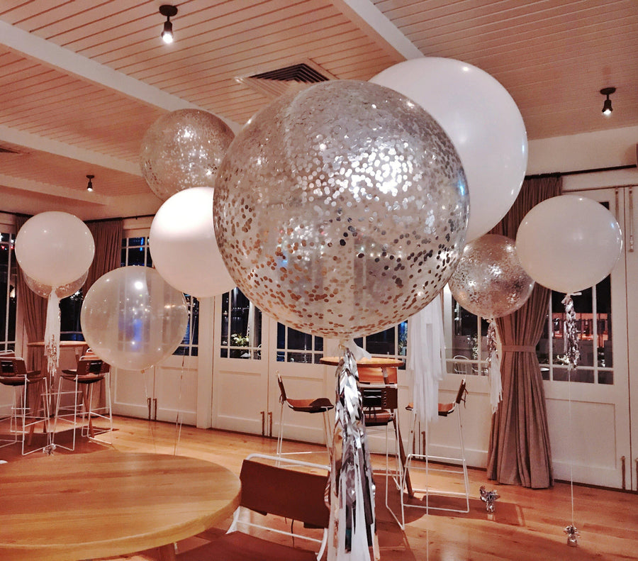 Jumbo Helium Filled  Confetti Balloon with small metallic silver confetti - Bickiboo Designs