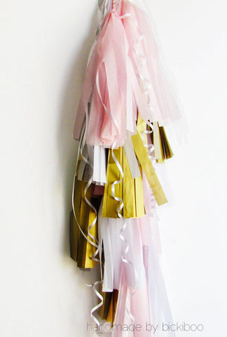 Balloon Tassel Garland - Baby Pink & Gold - Bickiboo Party Supplies