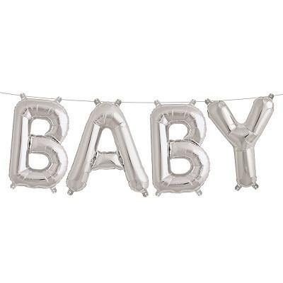 Silver 'BABY' Balloons - Bickiboo Designs