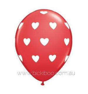 "28cm (11"") Red With Big White Love Heart Balloons - Bickiboo Designs"