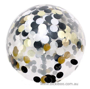 Large Confetti Balloon Black Gold - 60cm - Bickiboo Designs