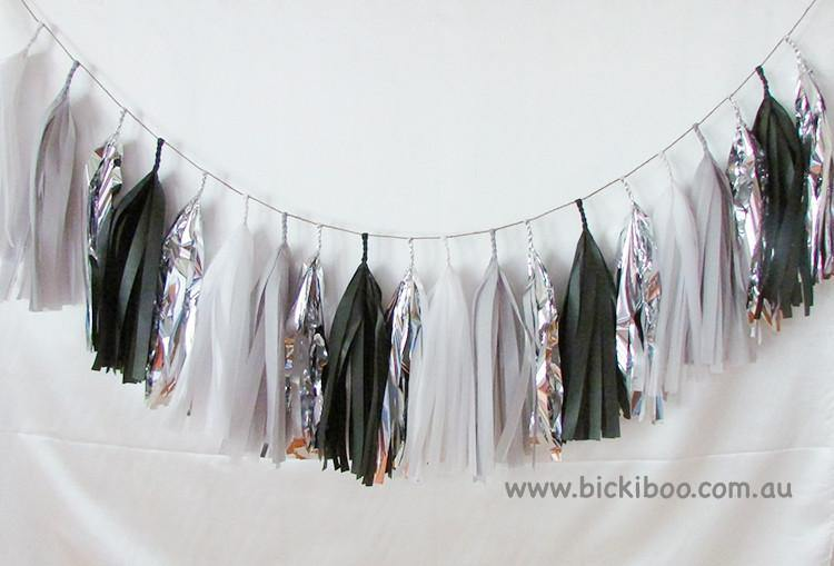 Tissue Paper Tassel Garland - Black & Grey - Bickiboo Designs