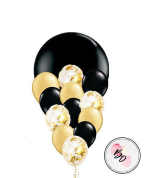 Black Tulip Gold Confetti Balloon Bouquet - Bickiboo Designs