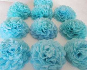 Baby Blue Button Mums Tissue Paper Flowers - Bickiboo Designs