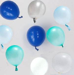 Blue & Mint Mix Balloons - 12cm (24 pack) - Bickiboo Designs