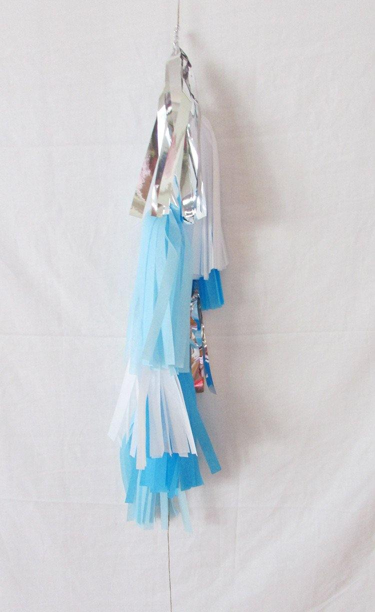 Petite Balloon Tassel Tail - Blue Mist - Bickiboo Party Supplies