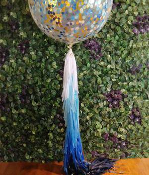 Jumbo Helium Filled  Confetti Balloon - Metallic Blue & Gold - Bickiboo Designs