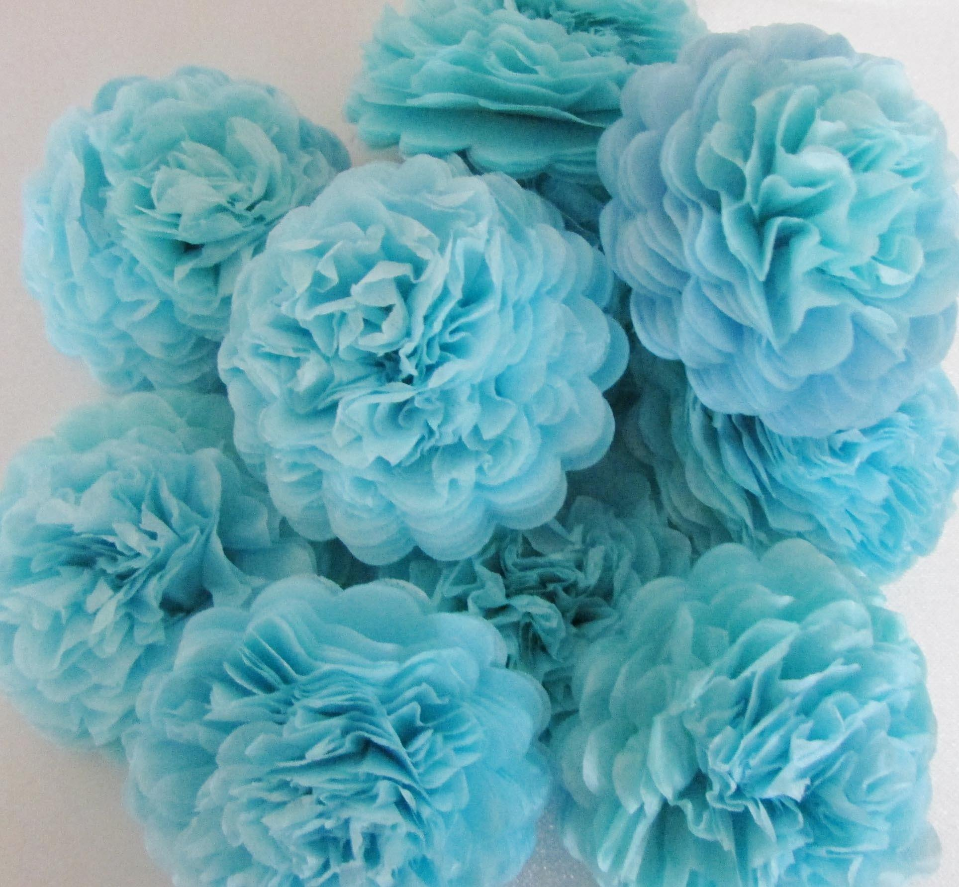 Baby Blue Button Mums Tissue Paper Flowers