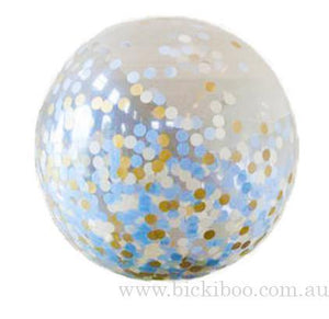 Large Confetti Balloon - Blue & Gold - 60cm - Bickiboo Designs