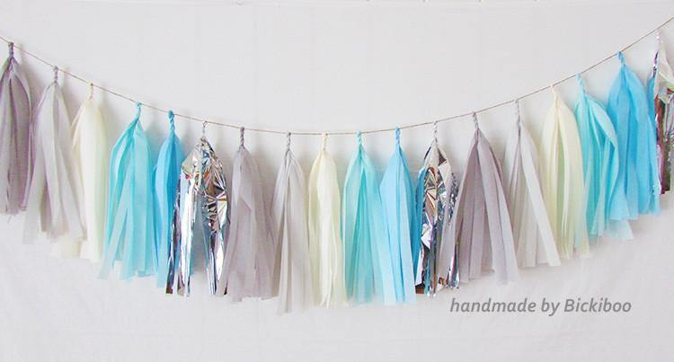 Tissue Paper Tassel Garland - Blue & Grey