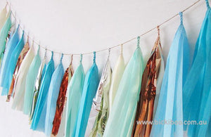 Tissue Paper Tassel Garland - Blue Moon