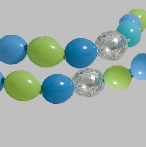 Balloon Garland - Blues & Green