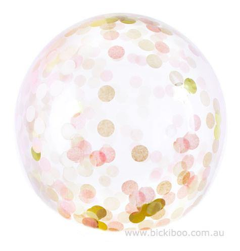 Jumbo Confetti Balloon Blush & Gold - 90cm - Bickiboo Party Supplies