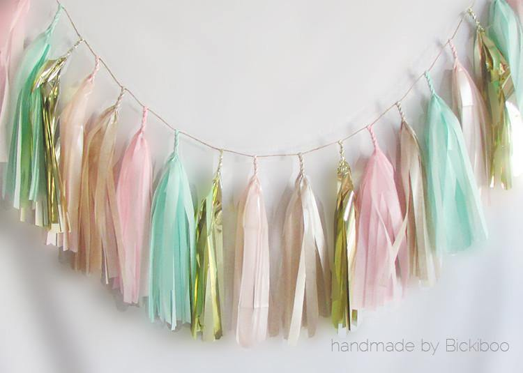 Tissue Paper Tassel Garland - Blush & Mint - Bickiboo Designs