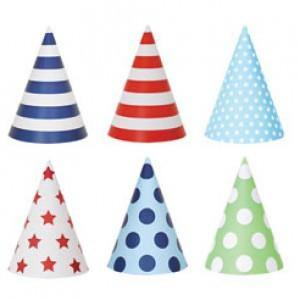 Blue Style Party Hats - Bickiboo Party Supplies