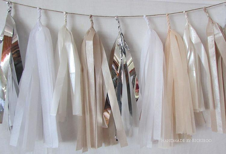 Tissue Paper Tassel Garland - Bridal Collection - Bickiboo Designs