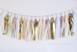 Tissue Paper Tassel Garland - Bridal Collection - Gold