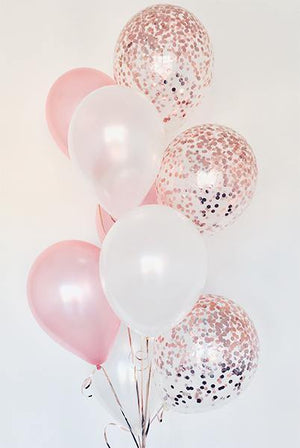 Pearl White & Blush with Rose Gold Confetti Balloons Bouquet - Bickiboo Designs