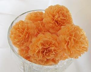 Cantaloupe Orange Button Mums Tissue Paper Flowers - Bickiboo Designs