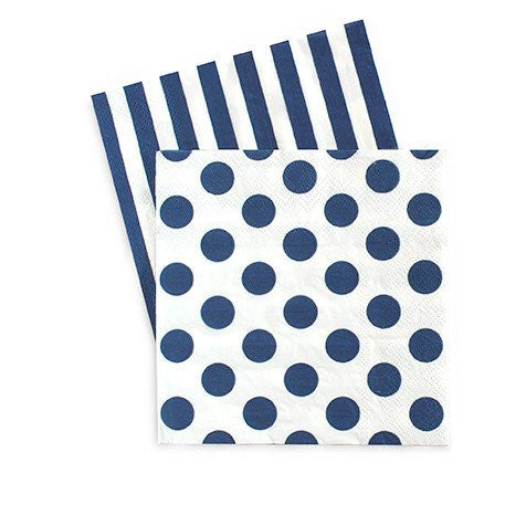 Navy & White Spots and Stripes Cocktail Napkins -20pack