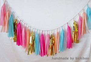 Tissue Paper Tassel Garland - Candy Lane - Bickiboo Designs