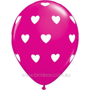 "28cm (11"") Hot Pink With Big White Love Heart Balloons - Bickiboo Party Supplies"