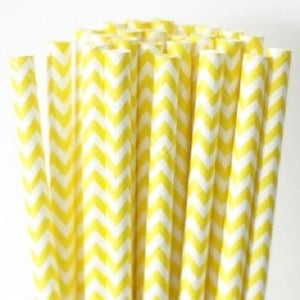 Yellow Chevron Paper Drinking Straws (25 pack)