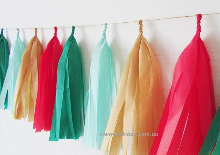Tissue Paper Tassel Garland - Christmas Cheer - Bickiboo Designs