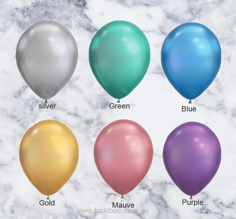 Blue Chrome Look Balloons - 28cm (5 pack) - Bickiboo Designs