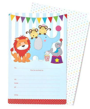 Circus Animals Party Invitation - Bickiboo Party Supplies