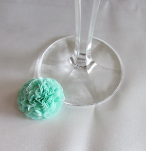 Cool Mint Button Mums Tissue Paper Flowers
