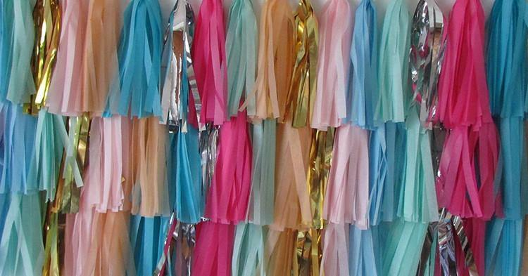 Cotton Candy Tassel Garland Photobooth Backdrop - Bickiboo Party Supplies