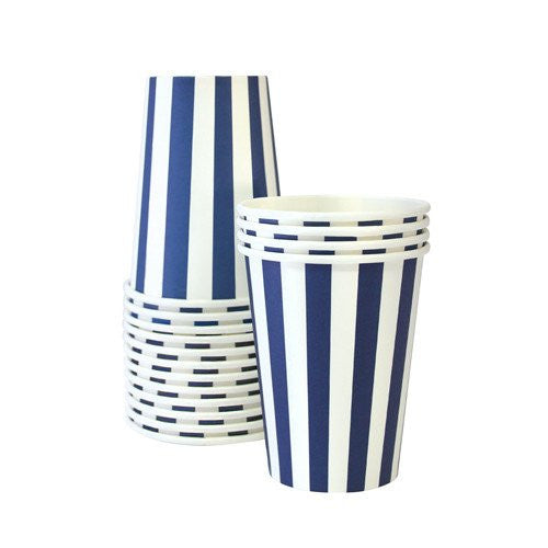 Navy stripe party cup -12 pack - Bickiboo Designs