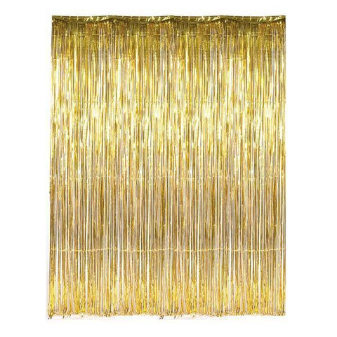 Metallic Gold Foil Fringe Curtain - Bickiboo Party Supplies