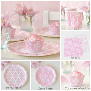 Damask Pink Dessert Party Plate