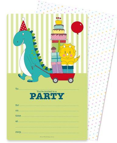 Dinosaur Birthday Invitation - Bickiboo Party Supplies