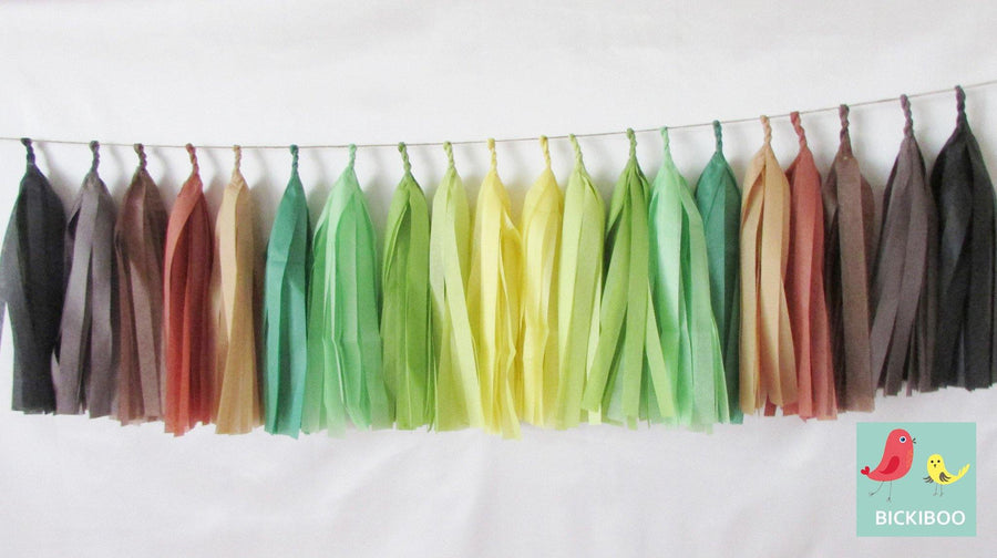 Tissue Paper Tassel Garland - Earth Day - Bickiboo Designs