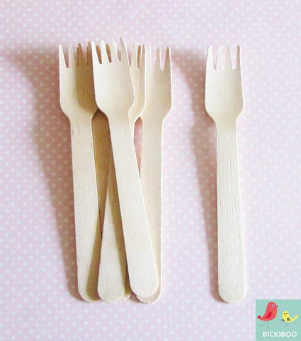 Paper Eskimo Wooden Cutlery Forks - Bickiboo Party Supplies
